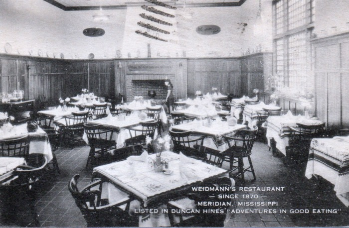 """Felix Weidmann, a native of Zurich, Switzerland, settled in Meridian in the latter part of 1869, establishing """"Weidmann's Tavern,"""" which he operated until his death in 1887. The business has passed thru three generations of Weidmanns, now being operated by Henry A. Weidmann, who succeeded his father, Philip, upon his death in 1927."""