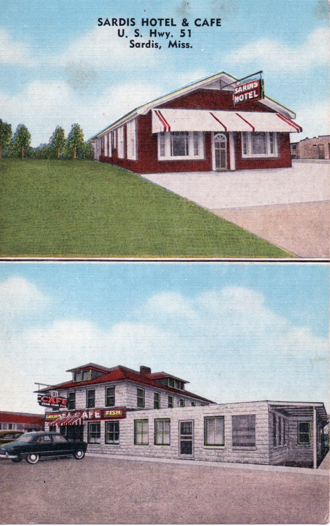 SARDIS HOTEL & CAFE--U.S. Hwy. 51, Sardis, Miss. 51 miles south of Memphis, Tenn. Automatic vented heat. Air-conditioned. Simmons Furniture. Cafe in Connection Serving Delicious Food. Wonderful Fishing and Swimming Beaches at nearby Sardis Lake. Phone 9101. Archie Caruthers, Manager-Owner.