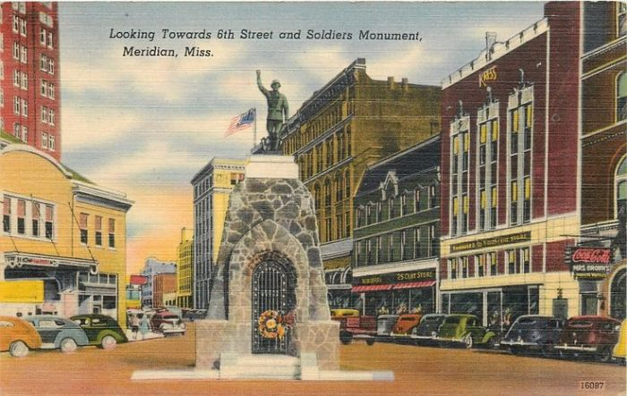 The Meridian Doughboy is one of a series of similar World War I memorials across the country designed by sculptor E.M. Viquesny and placed atop a base of native stone in 1927.