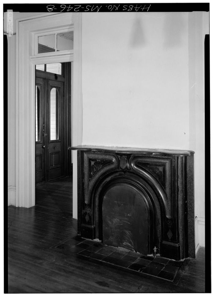 MS-246-1. Skipwith House, University of Mississippi, Interior, Fireplace. March 1975, Jack E. Boucher, HABS Photographer.