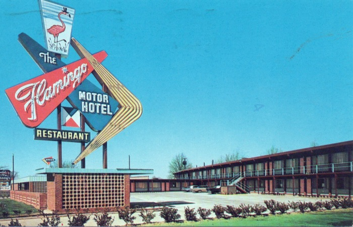 Flamingo Motor Hotel. Jackson's newest and most modern. Highway 80 West in city limits--Jackson, Mississippi. Phone FL-4-4931. Teletype JN 27. T.V.--Telephones--Conference Rooms--Swimming Pool--Air-Conditioned--Wall-ti-Wall Carpet--Free Coffee--Johnny's Restaurant on the Property. Mr. & Mrs. Ross Davis, Mgrs. Postmarked 1957.
