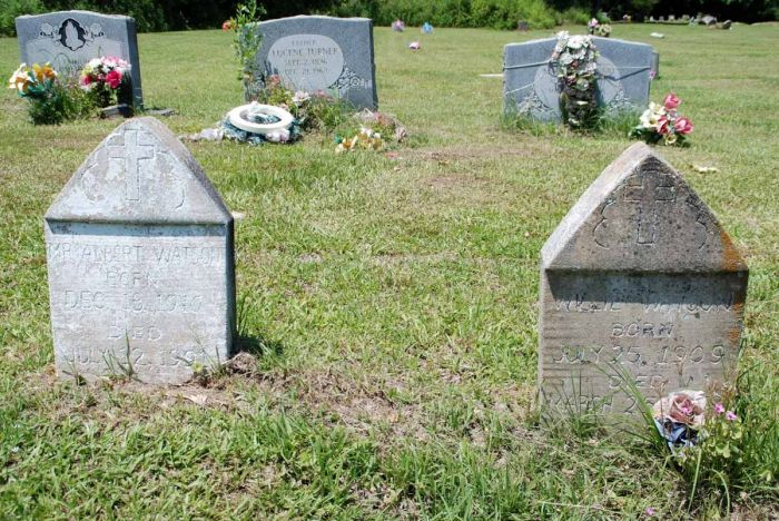 Concrete markers at Morning Star Cemetery, Hinds County