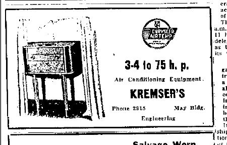 kremser air conditioning ad 1949