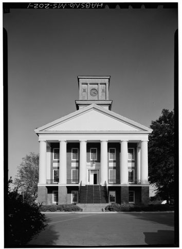 West front - Alcorn State University, Oakland Chapel, Alcorn State University Campus, Alcorn, Claiborne County, MS. April 1972. Jack Boucher, photographer.