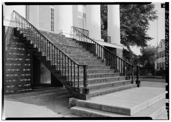 Detail showing cast iron steps from Windsor - Alcorn State University, Oakland Chapel, Alcorn State University Campus, Alcorn, Claiborne County, MS. April 1972, Jack Boucher, photographer.