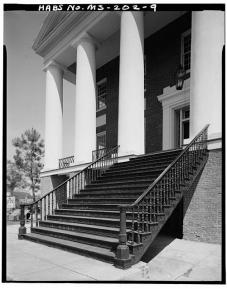 Detail of cast-iron stairs, front side of building - Alcorn State University, Oakland Chapel, Alcorn State University Campus, Alcorn, Claiborne County, MS. Gil Ford, photographer, c.1980.