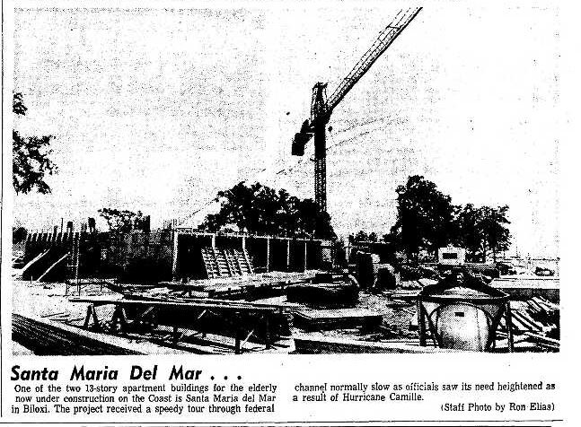 Santa Maria Del Mar construction Photo 1970 Biloxi Herald