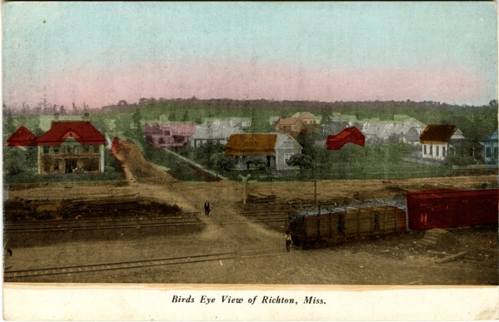 From Bird's-eye view of Richton, Miss. Sysid 94339. Scanned as tiff in 2008/05/27 by MDAH. Credit: Courtesy of the Mississippi Department of Archives and History, Cooper Postcard Collection.