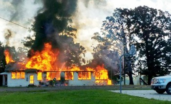 Flames engulf the Kingston Community Center on Kingston Road (submitted photo to Natchez Democrat)