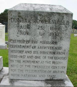 Dunbar Rowland's grave marker in Cedarlawn Cemetery, Jackson. Photo by Natalie Maynor, FindAGrave.com