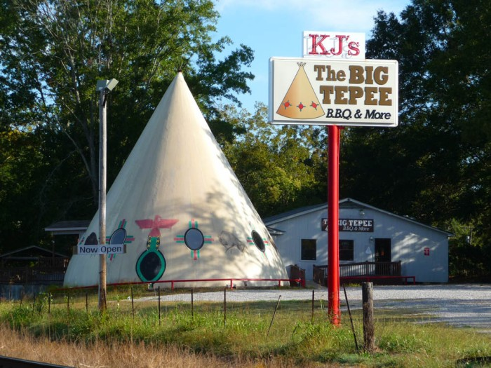 Pocahontas Tepee (c.1980). It may not have been historic, but it was a for-sure landmark on Hwy 49.