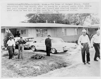 """The home of Medgar Evers, field secretary for the NAACP, shot to death by a sniper early 6/12."" June 1963. Courtesy of the Library of Congress."