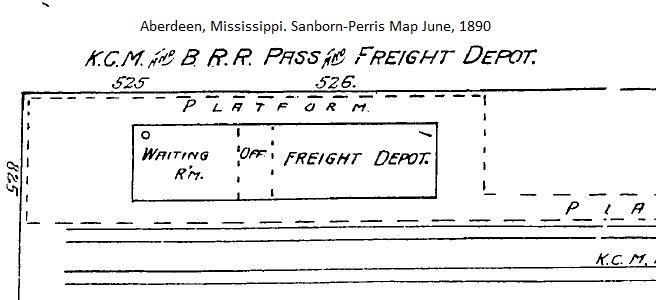 KCM&B Railroad Depot, Aberdeen, Mississippi Sanborn Map