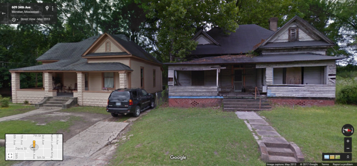 609 34th Ave., Meridian. The difference between these two houses? The one on the right has been less fortunate in ownership and will be demolished.