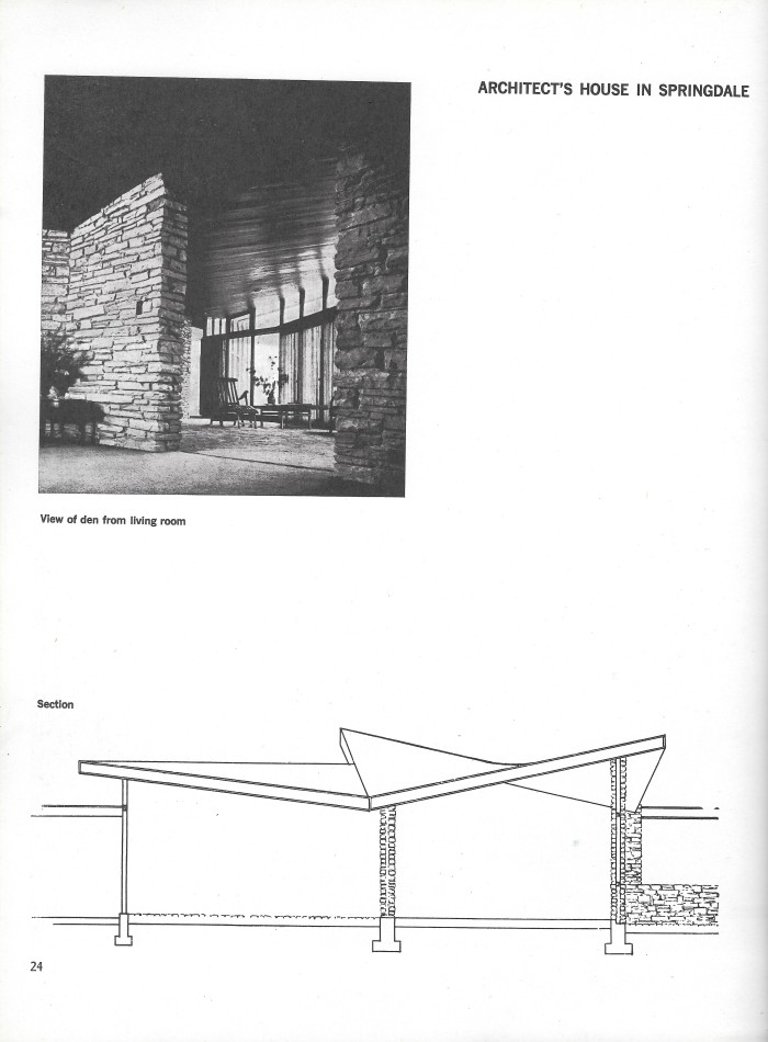 William Oglesby House, Springdale, Arkansas, interior photograph and section plan, page 24 of Small Homes in the New Tradition.