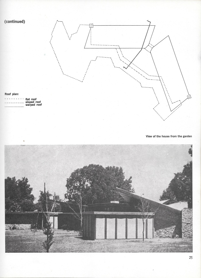William Oglesby House, Springdale, Arkansas, roof plan and rear façade photograph, page 25 in Small Homes in the New Tradition.