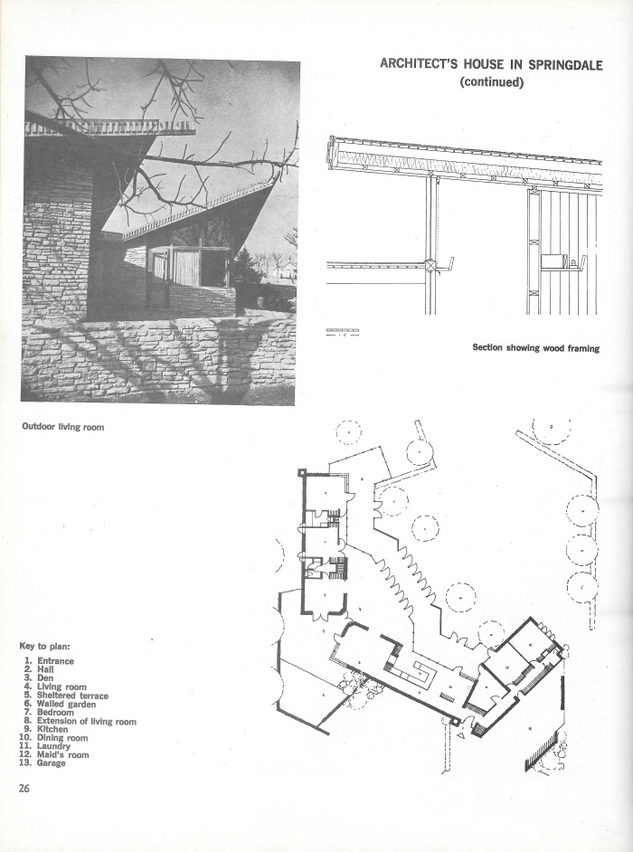 William Oglesby House, Springdale, Arkansas, photograph and plans, page 26 in Small Homes in the New Tradition.