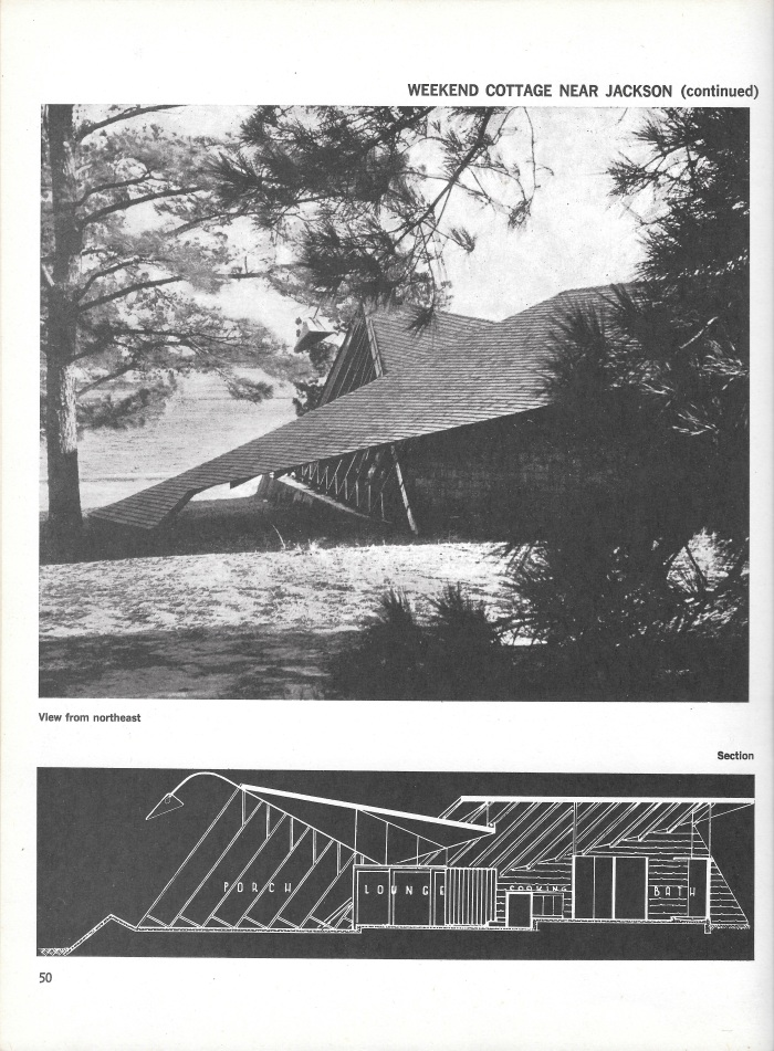 Champion Lodge, photograph and section plan, page 50 of Small Homes in the New Tradition.
