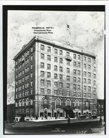 """Magnolia Hotel"" Vicksburg, Miss. courtesy Youngstown Historical Center of Industry and Labor accessed from ohiomemory.org 2-1-17"