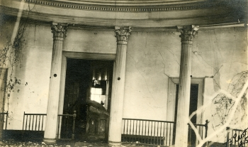 Senate Chamber, with view to north into main hallway. Photo by T.F. Laist. Original photo at Mississippi Department of Archives and History.