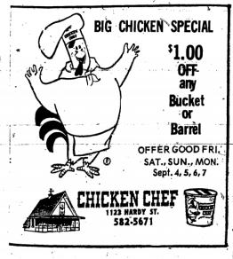Chicken Chef Ad Hattiesburg American September 3, 1970