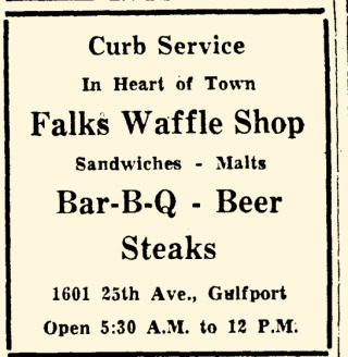Falks Waffle Shop advertisment