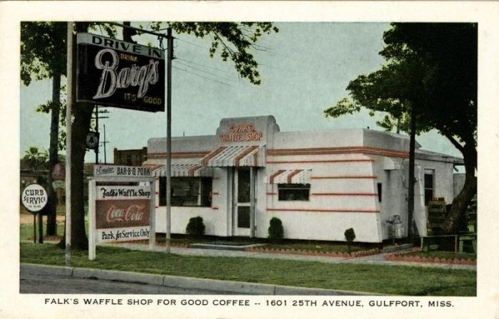 Falk's Waffle Shop postcard