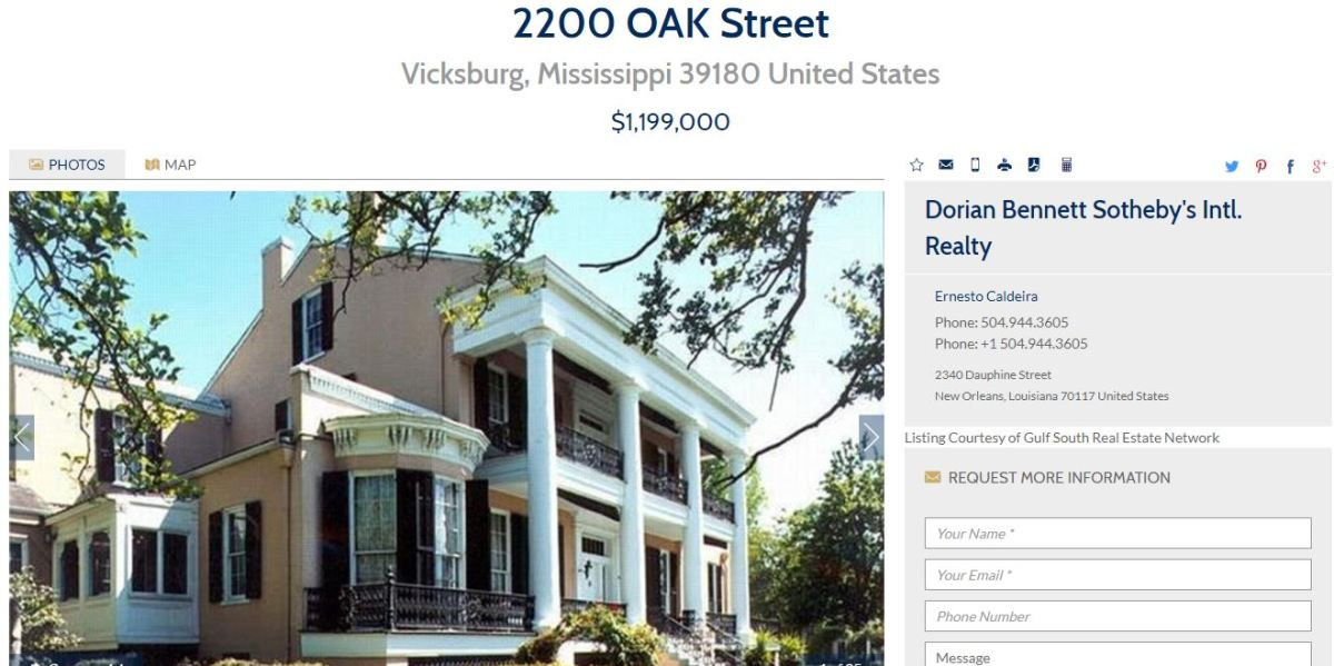 Historic For Sale: Cedar Grove, Vicksburg