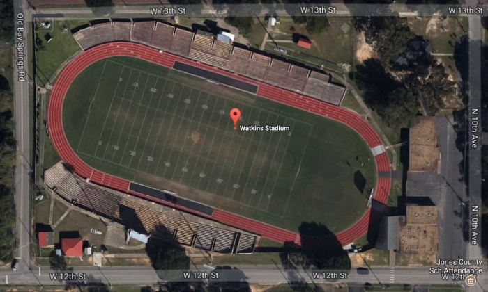 Watkins Stadium Laurel, Jones County Mississippi 2013 from google maps accessed 11-1-2017