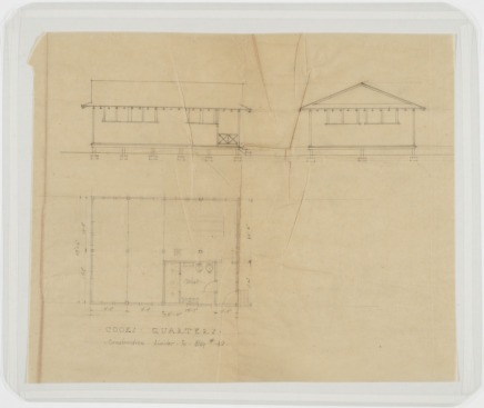 Elevation and Floor Plan, Cook's Quarters. U.S. Naval Camp, Gulfport, Miss. Martin Evans Boyer Papers, 1910-1993 (UNCC MC00094), J. Murrey Atkins Library Special Collections at the University of North Carolina at Charlotte