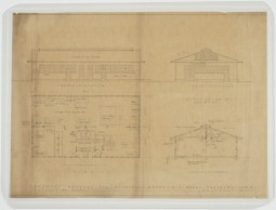Elevations, floor plans, sections of proposed laundry building for hospital group. U.S. Naval Camp, Gulfport, Miss. Martin Evans Boyer Papers, 1910-1993 (UNCC MC00094), J. Murrey Atkins Library Special Collections at the University of North Carolina at Charlotte