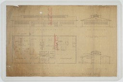 Elevations, floor plans, sections of proposed laundry building for main camp. U.S. Naval Camp, Gulfport, Miss. Martin Evans Boyer Papers, 1910-1993 (UNCC MC00094), J. Murrey Atkins Library Special Collections at the University of North Carolina at Charlotte