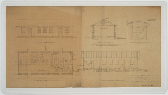 Elevations, floor plans, sections of pump house. U.S. Naval Camp, Gulfport, Miss. Martin Evans Boyer Papers, 1910-1993 (UNCC MC00094), J. Murrey Atkins Library Special Collections at the University of North Carolina at Charlotte