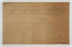 Plot plan, elevations, floor plans, sections of sail loft building. U.S. Naval Camp, Gulfport, Miss. Martin Evans Boyer Papers, 1910-1993 (UNCC MC00094), J. Murrey Atkins Library Special Collections at the University of North Carolina at Charlotte