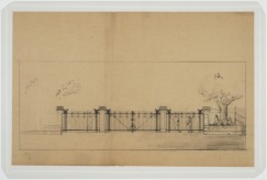 Sketch of gate. U.S. Naval Camp, Gulfport, Miss. Martin Evans Boyer Papers, 1910-1993 (UNCC MC00094), J. Murrey Atkins Library Special Collections at the University of North Carolina at Charlotte