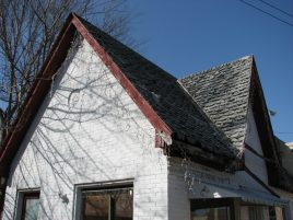 Cities Service Station (former), 112 S. Maple St., Aberdeen, MS - Side Facade, Gable Detail; March 11, 2010; W. White, photographer