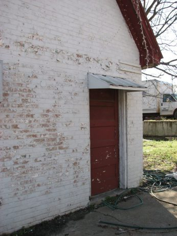 Cities Service Station (former), 112 S. Maple St., Aberdeen, MS - North Side Facade, Door; March 11, 2010; W. White, photographer