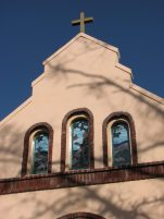 St. Francis of Assisi Catholic Church, 108 S. James St., Aberdeen, MS - Front Facade Detail; March 11, 2010; W. White, photographer